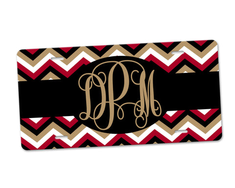 Personalized Monogram Aluminum License Plate Garnet and Gold Chevron