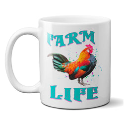 Farm Life Rooster Coffee Mug 11 or 15 oz