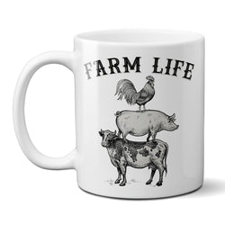 Farm Life Coffee Mug with Stacked Farm Animals Cow Pig Rooster Stacked Farmhouse Kitchen Decor