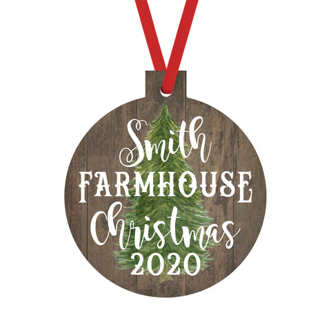 Christmas Ornaments Personalized Farmhouse Family Name Ornament Rustic Tree and Date Christmas 2020