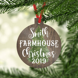 Christmas Ornaments Personalized Farmhouse Family Name Ornament Rustic Tree and Date Christmas 2019