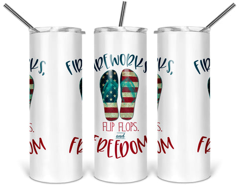 Fireworks Flip Flops and Freedom 20oz Stainless Steel Tumbler with Lid, 4th of July Independence Day Sumer Cup