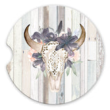 Sandstone Car Coasters with Western Boho Floral Bull Skull over Grey Barn Wood Background, Set of 2