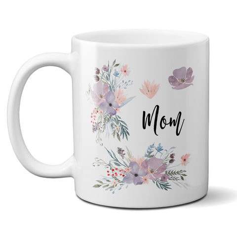 Custom Name Ceramic Coffee Mug with Purple and Lavender Flowers, Personalized Cup for Mom