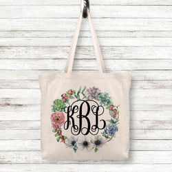Linen Tote Bag with Personalized Monogram or Name inside Floral Wreath, 2 Sizes