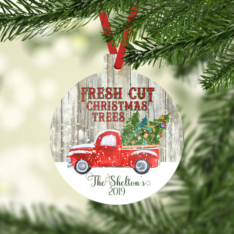 Christmas Ornament Fresh Cut Christmas Trees Red Christmas Truck Personalized Name Christmas 2019