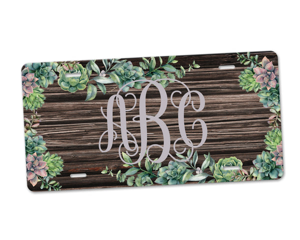 Aluminum License Plate Personalized Monogram Green Succulent Floral Faux Distressed Brown Wood