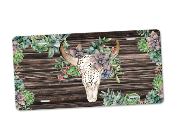 Aluminum License Plate Boho Floral Bull Skull Green Succulent Florals Faux Distressed Brown Wood