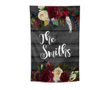 Personalized Garden Flag with Boho Floral over Grey Wood Background 12x18 inches