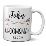 Ceramic Coffee Mug Custom Personalized Groomsman and Best Man Gift with Boho Arrow