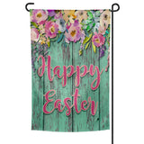 Happy Easter Garden Flag Multicolored Flowers over Green Weathered Shiplap Background