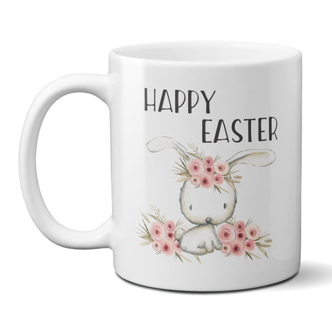 Happy Easter Ceramic Coffee Mug with White Bunny and Pink Flowers