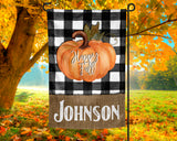 Happy Fall Personalized Garden Flag with Black Buffalo Plaid and Burlap Background and Custom Name