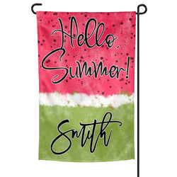 Personalized Hello Summer Garden Flag with Watermelon Background Custom Family Name, 12x18 Inches