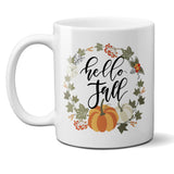 Hello Fall Ceramic Coffee Mug with Pumpkin Wreath
