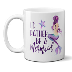 I'd Rather Be a Mermaid Ceramic Coffee Mug with Starfish, Beach Lover Cup