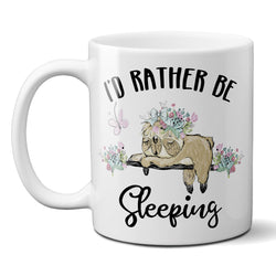 Funny Sloth Coffee Mug Id Rather Be Sleeping Ceramic Cup with Flowers and Butterfly 11 or 15oz