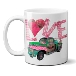 Junk Truck Love Coffee Mug with Vintage Rusty Junk Truck Valentine's Day Gift for Her or Him Sweetheart Gift