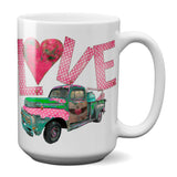 Junk Truck Love Coffee Mug with Vintage Rusty Junk Truck Valentine's Day Gift for Her or Him
