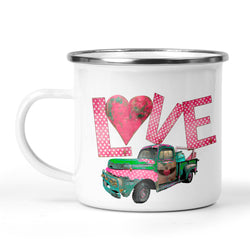 Love Camp Cup with Rusty Vintage Junk Truck Stainless Steel Mug Valentine's Day Gift for Him or Her