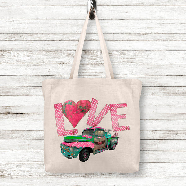 Valentine's Day Gift Love Linen Tote Bag with Rusty Vintage Junk Truck, 2 Sizes