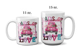 Loads of Love Coffee Mug with Vintage Pink Truck Ceramic Cup for Valentines Day Gift for Her