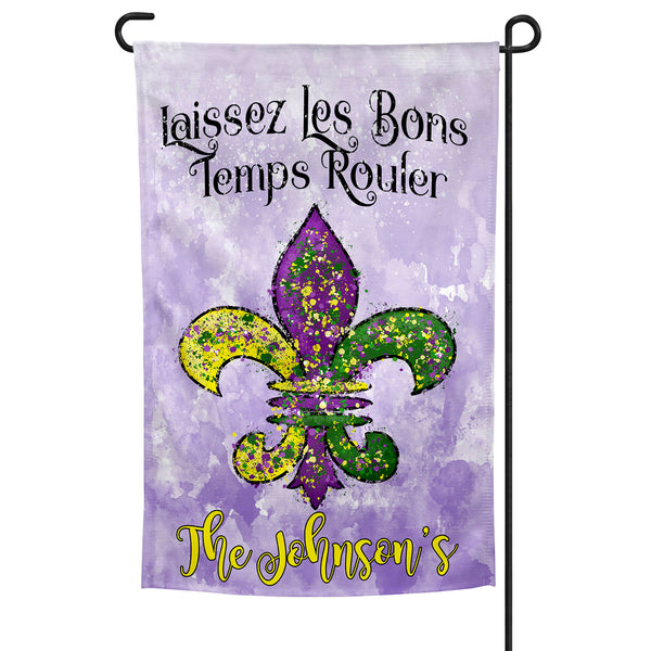 Personalized Mardi Gras Garden Flag with Fleur De Lis, Laissez Les Bons Temps Rouler, 12x18 Inches