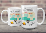 Let's Get Lost Together Ceramic Coffee Mug with Vintage Camper, Camping Cup for RV