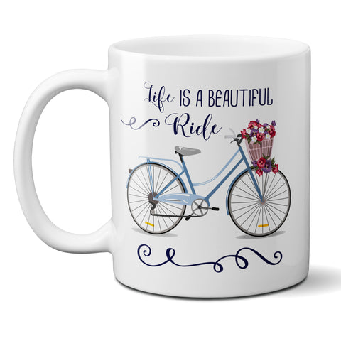 Life is a Beautiful Ride Ceramic Coffee Mug with Vintage Blue Bicycle with Basket of Flowers