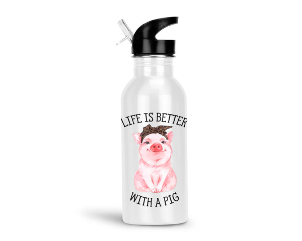 Life is Better with a Pig 20oz Aluminum Water Bottle with Flip Straw Lid, Cute Pink Pig with Bow