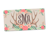 Personalized Monogram Aluminum License Plate with Floral Antlers and Tan Background