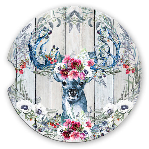 Sandstone Car Coasters Majestic Deer Floral Antlers Boho Flower Wreath Wood Background, Set of 2