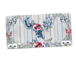 Aluminum License Plate Majestic Deer Pink Blue Floral Antlers Boho Flower Wreath Wood Background