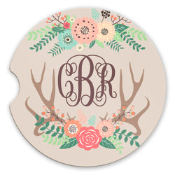 Sandstone Car Coasters Personalized Monogram Boho Floral Deer Antlers and Tan Background, Set of 2