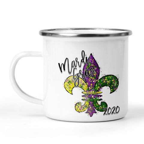 Mardi Gras 2020 Fleur de Lis Stainless Steel Camp Cup for Him or Her Mardi Gras Gift Ideas, 11 Ounce