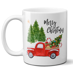 Merry Christmas Coffee Mug with Vintage Red Truck and Christmas Tree, Ceramic Holiday Cup