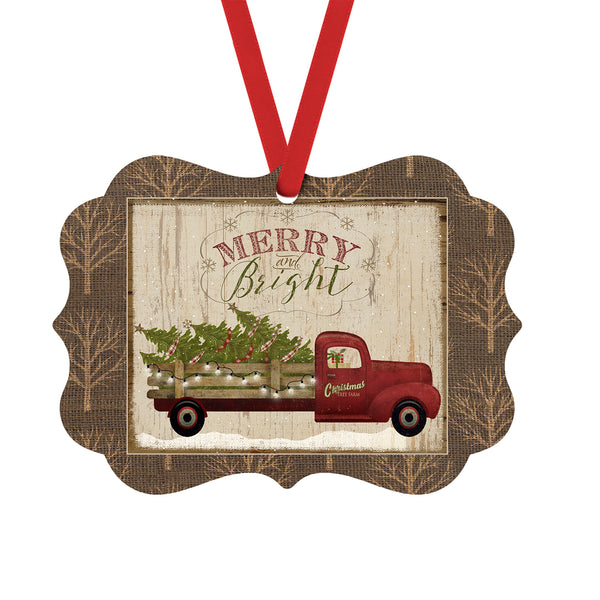 Merry and Bright Christmas Ornament with Christmas Tree Farm Vintage Red Truck