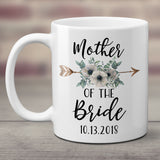 Mother of the Bride or Groom Coffee Mug with Floral Arrow, Personalized Bridal Party Gifts - White