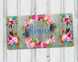 Aluminum License Plate Personalized Monogram Boho Floral Wreath Green Weathered Wood Background