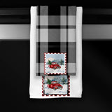 Red Christmas Truck Postage Stamp Black Plaid Premium Micro Velour Kitchen Towel Set of 2