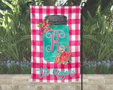 Personalized Monogram Mason Jar Garden Flag Pink Plaid Background Custom Name Spring Yard Decor
