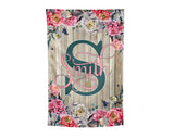 Personalized Name Garden Flag Spring Floral Yard Flag Distressed Wood Monogram Hostess Gift