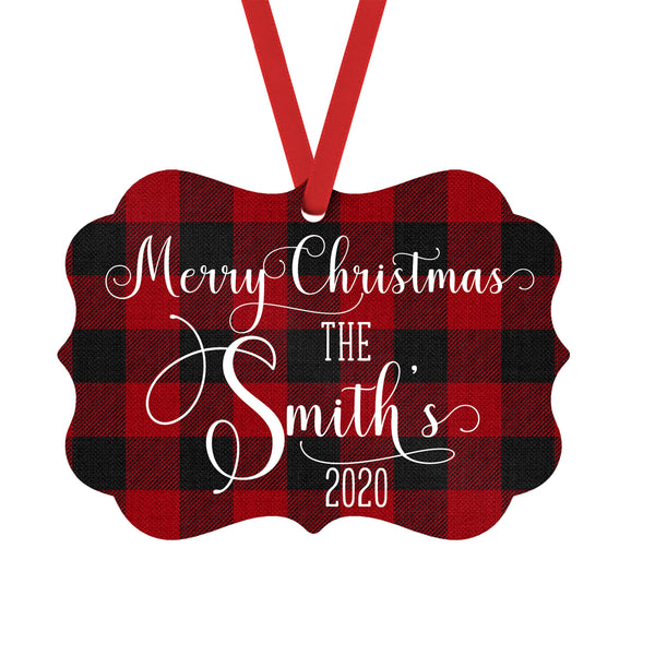 Red Buffalo Plaid Personalized 2020 Christmas Ornament with Custom Family Name
