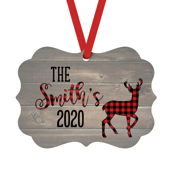 Christmas Ornament with Custom Name and Year Red Buffalo Plaid Deer over Wood Background