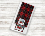Red Christmas Truck Postage Stamp Red Plaid Premium Micro Velour Kitchen Towel Set of 2