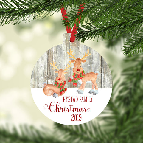 Reindeer Personalized Ornament Christmas 2019 Family Name Rustic Faux Wood Snowflakes Custom Gift