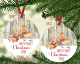 Reindeer Personalized Ornament Christmas 2020 Family Name Rustic Faux Wood Snowflakes Custom Gift