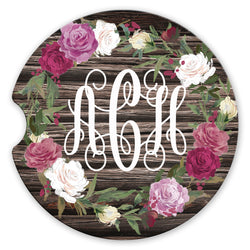 Sandstone Car Coasters Personalized Monogram Rose Wreath Brown Distressed Wood Background, Set of 2
