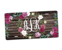 Aluminum License Plate Personalized Monogram Rose Wreath Brown Weathered Distressed Faux Wood