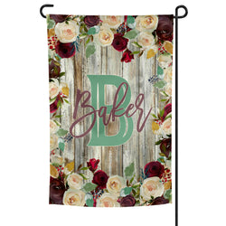 Personalized Garden Flag Burgundy and White Roses over Weathered Shiplap Background 12x18 inches